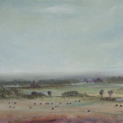 """""""McMillan's Herd"""" Artwork - Impressionist oil on linen panel of a quiet country farm scene with cattle."""