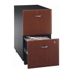 Bush Business - Two Drawer Filing Cabinet in Cherry Stained - This is a very classic file cabinet in appearance but in quality and craftsmanship it is so much more.  Not only does it provide you with two complete drawers of file space it will also give you the look and the feel that you want in your office.  Face it, everything in your office, right down to the file cabinet affects the way your clients view you.  This functional, practical, attractive file cabinet will get you great reviews all around.  It goes where needed on easy-gliding casters. * File drawers can fit various sized documents. Lockable drawers. Fully extension on ball-bearing glides. Able to slide under desks. Smooth casters for portability. Hansen cherry finish. 15.512 in. W x 20.276 in. D x 28.15 in. H