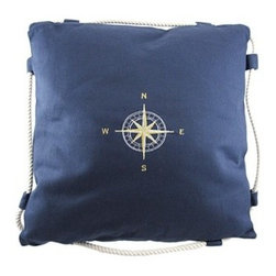 Navy Blue Embroidered Compass Rose Throw Pillow - Ahoy! This navy blue canvas throw pillow adds a classy accent to your nautical decor. It measures 16 inches by 16 inches and features an embroidered gold and white compass rose in the center and a twisted white rope border. The cover is easy to remove for washing and secures with a strip of velcro on the back. It`s an excellent addition in the home as well as on your boat.