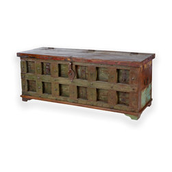 South by Far East - Distressed Trunk with Sqaure Iron Facade - Distressed rosewood trunk / chest with square facade and iron rivets. Imported from India