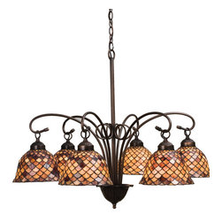 "Meyda Tiffany - 31""W Tiffany Fishscale 6 Lt Chandelier - A Louis Comfort Tiffany studio classic fish scale pattern reproduced in variegated Tortoiseshell of Ambers and Burgundy. This handsome stained glass shade is used with Mahogany Bronze hand finished hardware. A versatile six light chandelier that will complement any color or style."