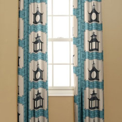 Grommet Curtain, Folly, Aqua - Curtains in this Thomas Paul pagoda fabric would lend a modern yet classic look to your home.