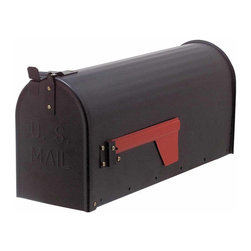 The Renovators Supply - Mailboxes Solid Brass Black Rural Mailbox 8 3/4H x 20 1/2W | 18929 - Rural Mailbox. This traditionally styled mailbox with a red flag measures 8 3/4 H x 20 1/2 W x 6 1/2 proj.