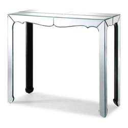 Vive Console Table - The Vive console table has a bright mirrored finish surface. Elegant and refined with a splash of style, this console table looks great in a doorway or behind a sofa.