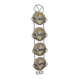 Zeckos - Nautical Style Decorative Ceramic Plates W/Display Rack Wall Hanging - This adorable set of decorative plates and display rack are perfect for that narrow wall that you just don't know what to do with at 5 1/2 inches wide, 25 1/4 inches high and 1 inch deep. A complementing set of four 4 5/8 inch diameter ceramic plates that feature Sail, Surf, Sun and Swim fit just right into their custom fit wire display rack that has a lovely black satin finish and topped off with a beautiful seashell while the soft tones easily blend with existing decor. This set would look amazing on the walls of kitchens, bathrooms or even a bedroom, and would make a wonderful gift for any beach loving friend or family member.
