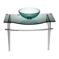 Renovators Supply - Glass Sinks Green Glass Little Lagoon Children's Glass Sink - Faucet not included--check our huge selection. Counter 27 1/2 in. wide x 14 3/4 in. proj. Bowl 12 1/8 in. in dia. x 4 in. deep.