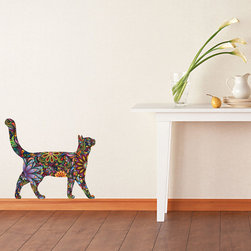 My Wonderful Walls - Walking Cat Wall Sticker Decal in Floral Pattern, Medium, As Shown - -Colorful floral cat wall sticker / fabric wall decal!