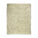 Anji Creme Recycled Paper Shag Rug 8' x 10' - This marvelous balance of comfort and style presents an array of dazzling applications throughout the home. This rug is made of recycled paper, so your environmental conscience can feel just as good as your feet do This distinctive shag is hand woven on a loom and features a durable backing made of natural latex and cotton.  Available sizes: 3'x5', 4'x6', 5'x8', 8'x10'.