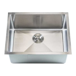 """Ariel - Stainless Steel Undermount Single Bowl Kitchen / Bar Sink - 16 Gauge, Stainless - Upgrade your standard kitchen sink to the Ariel 23 inch. Perfect for the bar area, small kitchen, or laundry room. Exterior Dimensions 23"""" x 18"""" x 10"""". Interior Dimensions 21"""" x 16"""" x 10""""."""