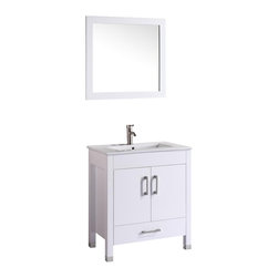 "Vanova - Vanova VA103-30W Cabinet, Basin & Mirror White Vanity - Our stylish floor standing all wood vanity includes a white ceramic top with an integrated rectangular sink. Two soft closing doors and single bottom drawer with matching mirror . Color: White,Vanity:30""W x 20""D x 36""H,Mirror:19""W x 27""H,Includes:Cabinet-Basin & Mirror,Hardware:Soft-closing doors and drawer,Faucet & drain not included"