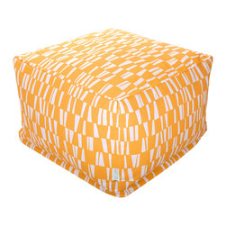 Majestic Home - Outdoor Citrus Sticks Large Ottoman - Roomy and comfy with a fun, modern print, this ottoman could quickly become one of the most coveted items in your house. You'll be pulling it out for an impromptu coffee table on the deck, an extra seat for your kid's buddy on movie night or a cushy footrest for the recliner. The beanbag filling is 50 percent recycled beads and the cover is safe for outdoors and removable for easy cleaning.