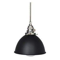 "Hammers & Heels - Factory 7 & 1/16"" Black Metal Shade Pendant Light- Stainless Steel Cord - FACTORY SHADE BARN LIGHT"
