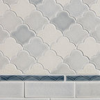New Releases by Pratt and Larson - New Small Scalloped Fan shaped tile in various grey glazes made by Pratt & Larson Ceramics. Seen here with Motif liner B. Here is the ordering info and colors used: