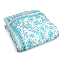 Amanda Quilt, Turquoise - Making the bed is a breeze with a soft cotton quilt. When it comes to easy living, nothing is quite as efficient. The intricate motifs give this one a bohemian edge.