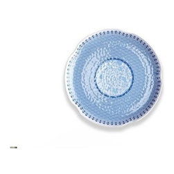 Q Squared NYC - Heritage Blue Small Platter - The deep, rich blue of the Heritage Collection is an iconic symbol of ancient Chinese blue and white porcelain, while the texture and shape of the pieces give the collection a handmade, artisanal appearance.