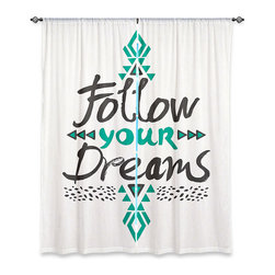 "DiaNoche Designs - Pom Graphic Design 'Follow Your Dreams' Lined Window Curtains - Purchasing window curtains just got easier and better! Create a designer look to any of your living spaces with our decorative and unique ""Lined Window Curtains."" Perfect for the living room, dining room or bedroom, these artistic curtains are an easy and inexpensive way to add color and style when decorating your home.  This is a woven poly material that filters outside light and creates a privacy barrier.  Each package includes two easy-to-hang, 3 inch diameter pole-pocket curtain panels.  The width listed is the total measurement of the two panels.  Curtain rod sold separately. Easy care, machine wash cold, tumble dry low, iron low if needed.  Printed in the USA."