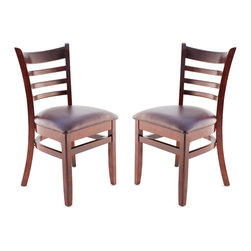 Seating Masters - US Made Ladder Back Chair - Set of 2 (Dark Mahogany), Wine Vinyl Seat - The Premium Wood Ladder Back Chair offers a traditional design which will be sure to provide your customers with the comfort they desire.