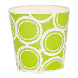 Worlds Away Oval Wastebasket, Green and Cream Circle Design - Oval Wastebasket, green and cream circle design.
