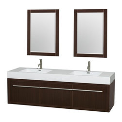 Wyndham Collection - 72 in. Double Bathroom Vanity in Espresso, Acrylic, Resin Countertop, Integrated - The bold ultra-modern and visually stunning design of the Axa wall-hung vanity makes a powerful statement while incorporating generous counter space and storage for bath items. The one of a kind styling ensures a high-end look at a very reasonable price and brings an element of contemporary sophistication to a fabulous bathroom remodel. Satin Chrome accents finish the look - it's quite remarkable, and all the more so in person.