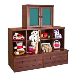 babyletto - Storage Cabinet - An elegnant storage space, the Storage Cabinet from babyletto features quality craftmanship and a rich espresso finish. The cabinet's large spacious drawers will fit all of your toys, books, and office supplies, and the unit also features two innovative doors which can be used as a chalkboard or cork board! Features: -Espresso finish. --Constructed from New Zealand Radiata Pine Wood and MDF. -Base has a two spacious wooden drawers with knobs and a metal glide system that allows drawer to slide smoothly. -Eight fixed shelves -Doors can be used as a chalkboard or as a cork board and have a fixed shelf behind them. About New Zealand Radiata Pine Wood: Radiata Pine, better known as 'New Zealand Pine' is a softwood tree that contains many properties that make it very suitable for furniture and furniture making. It has a density equal to that of hardwoods like poplar, mahogany and oak. Its uniform density ensures a smooth and consistent texture and confers its excellent machining, painting and staining properties; there is almost no variation in color between pieces. babyletto's pine wood originates from forests maintained by managers that enforce environmental responsibility and the conservation of forest wildlife. ***Please note that these products cannot be shipped to Alaska, Hawaii, or Puerto Rico. We apologize for the inconvenience - feel free to call us regarding alternatives! Please Note: All Assembled babymrio Products are Non-Returnable