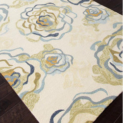 """Jaipur Rugs - Colours I-O White Floral Rug - Features: -Technique: Hooked / Looped cut.-Material: Polypropylene.-Origin: China.-Indoor and outdoor style.-Durable.-Easy care.-Luxurious and unique.-Polyester is dirt and stain resistant and will look great for a long time just by vacuuming regularly.-Dries fast so deep steam/rug cleaning works great to release dirt from fiber.-If spills occur blot immediately.-Use rug/carpet cleaners that are safe on synthetic fibers.-Use professional cleaning agents only.-Vacuum use an attachment arm or suction only to remove dirt particles.-Construction: Handmade.-Collection: Colours I-O.-Distressed: No.-Collection: Colours.-Construction: Hand Hooked.-Technique: Indoor & Outdoor.-Primary Pattern: Floral.-Primary Color: Antique White.-Border Material: Polypropylene.-Border Color: Antique White.-Type of Backing: Latex backing.-Material: Polypropylene.-Fringe: No.-Reversible: No.-Rug Pad Needed: No.-Water Repellent: No.-Mildew Resistant: No.-Stain Resistant: No.-Fade Resistant: No.-Eco-Friendly: No.-Outdoor Use: Yes.-Product Care: (1) Polyester is dirt and stain resistant and will look great for a long time just by vacuuming regularly, (2) Dries fast so deep steam/rug cleaning works great to release dirt from fiber, (3) If spills occur blot immediately, (4) Use rug/carpet cleaners that are safe on synthetic fibers, (5) Use professional cleaning agents only, (6) To vacuum use an attachment arm or suction only to remove dirt particles.Specifications: -CRI certified: No.-Goodweave certified: No.Dimensions: -Pile height: 0.25"""".-Pile Height: .25"""".-Overall Product Weight (Rug Size: 2' x 3'): 2.4 lbs.-Overall Product Weight (Rug Size: 3'6"""" x 5'6""""): 7.7 lbs.-Overall Product Weight (Rug Size: 5' x 7'6""""): 15 lbs.-Overall Product Weight (Rug Size: 7'6"""" x 9'6""""): 28.5 lbs.-Overall Product Weight (Rug Size: Runner 2'6"""" x 8'): 8 lbs.Warranty: -Product Warranty: 60 Days."""