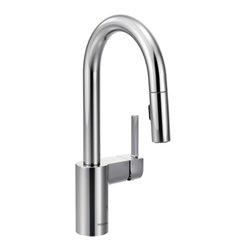 Moen - Moen 5965 Align Chrome One-Handle High Arc Pulldown Bar Faucet - Moen 5965 Align Chrome one handle High Arc Pulldown Bar Faucet. From Classic home kitchens to large elegant workstations, Align Faucets add a modern and functional look to your cooking area. Subtle lines create a contemporary style, while the pull down/out wand adds functionality. Additional feature for this Faucet includes a highly reflective mirror like Chrome finish, a limited lifetime warranty, and its equipped with the Reflex system for smooth operation, easy movement and secure docking of the pull down/pullout spray head. Great for everyday light work, and those days when heavy-duty cleanups are necessary also.
