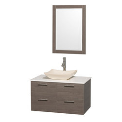 Wyndham - Amare 36in. Wall Vanity Set in Grey Oak w/ White Stone Top & Ivory Marble Sink - Modern clean lines and a truly elegant design aesthetic meet affordability in the Wyndham Collection Amare Vanity. Available with green glass or pure white man-made stone counters, and featuring soft close door hinges and drawer glides, you'll never hear a noisy door again! Meticulously finished with brushed Chrome hardware, the attention to detail on this elegant contemporary vanity is unrivalled.