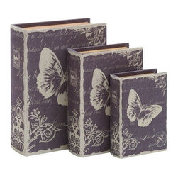 Benzara - Book Box Set with Paris Butterfly Theme - Book Box set with Paris Butterfly Theme. This elegant and clever themed book box set is the perfect touch of Paris life.