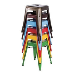 Chintaly Tremont Galvanized Steel Dining Side Chairs - Set of 4 - Get that Euro bistro look in your home with the colorful Chintaly Tremont Galvanized Steel Dining Side Chairs - Set of 4. This set of four dining side chairs has a backless design for a classic bistro look in your choice of vibrant color. The chairs are made of galvanized steel for lightweight durability and have rubber stops to protect floors. The handle in the seat adds to the charm.About Chintaly ImportsBased in Farmingdale, New York, Chintaly Imports has been supplying the furniture industry with quality products since 1997. From its humble beginning with a small assortment of casual dining tables and chairs, Chintaly Imports has grown to become a full-range supplier of curios, computer desks, accent pieces, occasional table, barstools, pub sets, upholstery groups and bedroom sets. This assortment of products includes many high-styled contemporary and traditionally-styled items. Chintaly Imports takes pride in the fact that many of its products offer the innovative look, style, and quality which are offered with other suppliers at much higher prices. Currently, Chintaly Imports products appeal to a broad customer base which encompasses many single store operations along with numerous top 100 dealers. Chintaly Imports showrooms are located in High Point, North Carolina and Las Vegas, Nevada.