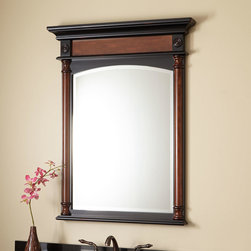 """32"""" Haywood Vanity Mirror - Cherry - The rich two-tone finish of this vanity mirror complements the Haywood cabinet, and lends definite style to your bath area.  Features beveled glass and matching architectural detail."""