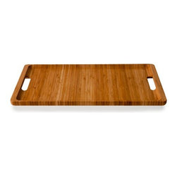 Tray by Kalon Studios - This beautiful bamboo tray is available as a single in small or large, or as part of a charming set that includes one small, one large, and three bread boards that all nest together in a beautiful, space-saving stack.