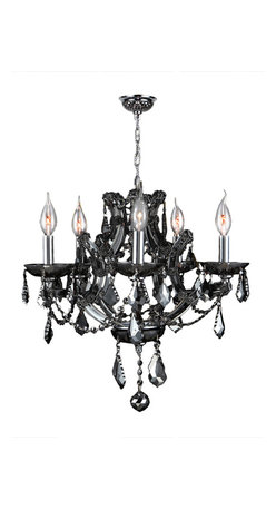 """Worldwide Lighting - Lyre 5 Light Chrome Finish Smoke Crystal Chandelier 19"""" X 18"""" - This stunning 5-light Crystal Chandelier only uses the best quality material and workmanship ensuring a beautiful heirloom quality piece. Featuring a radiant chrome finish and finely cut premium grade smoke colored (translucent) crystals with a lead content of 30%, this elegant chandelier will give any room sparkle and glamour. Worldwide Lighting Corporation is a privately owned manufacturer of high quality crystal chandeliers, pendants, surface mounts, sconces and custom decorative lighting products for the residential, hospitality and commercial building markets. Our high quality crystals meet all standards of perfection, possessing lead oxide of 30% that is above industry standards and can be seen in prestigious homes, hotels, restaurants, casinos, and churches across the country. Our mission is to enhance your lighting needs with exceptional quality fixtures at a reasonable price."""
