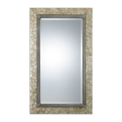 "Uttermost - Pearl Shell with Champagne-Silver Highlight Mirror - Frame is made from lightly stained, Mother of Pearl shell with champagne highlights and antiqued silver metal rope details. Mirror features a generous 1 1/4"" bevel. May be hung either horizontal or vertical."
