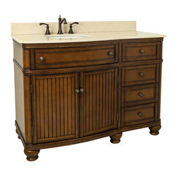 "Hardware Resources - Lyn Design VAN029-48-T-MC - Compton Walnut 48"" Single Vanity with Preassembled Top and Bowl by Bath Elements"