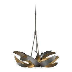 """Hubbardton Forge - Contemporary Hubbardton Forge Corona 27"""" Wide Dark Smoke Chandelier - The Corona collection from Hubbardton Forge features rounded metal surfaces that give the pieces a fluid appearance that creates wonderful plays of light and shadow. This handsome chandelier comes in a dark smoke finish. Hubbardton Forge is the country's oldest and largest contemporary commercial forge. Renowned for their exquisite lighting designs each piece is hand-crafted in their Vermont workshops by a team of skilled artisans. Dark smoke finish. From the hand-crafted Corona collection. Includes six 40 watt G9 bulbs. Slope ceiling adaptable up to 90 degrees. 27"""" wide. 21"""" high. Overall 37 3/4"""" to 48 1/2"""" adjustable hanging height.  Includes 7 feet of leadwire. Canopy is 5"""" wide. Hang weight 25 3/4 lbs.  Dark smoke finish.  From the hand-crafted Corona collection.  Made in USA.  Includes six 40 watt G9 bulbs.  Slope ceiling adaptable up to 90 degrees.  27"""" wide.  21"""" high.  Overall 37 3/4"""" to 48 1/2"""" adjustable hanging height.  Includes 7 feet of leadwire.  Canopy is 5"""" wide.  Hang weight 25 3/4 lbs."""