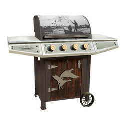 TETON GRILL COMPANY - CDH100CG Duck Hunter Gas Grill - Classic series duck hunter gas grill 4-burner design - 12,000 BTU per burner with push and turn ignition, cast iron grates, stainless steel warming rack, LP gas regulator with hose and hookup 600 total sq. inches of cooking area distressed, fire charred, cedar wood door with - weathered-iron flying ducks accent plate and-wagon style rubber clad wheels CDH100CG duck hunter gas grill