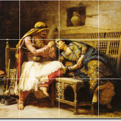 Picture-Tiles, LLC - Queen Of The Brigands Tile Mural By Frederick Bridgman - * MURAL SIZE: 12.75x17 inch tile mural using (12) 4.25x4.25 ceramic tiles-satin finish.