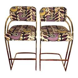 Vintage Brass Cantilever Bar Stools - A Pair - $1,200 Est. Retail - $650 on Chai -