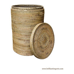 Brilliant Imports : The Bali Collection ~ Baskets & Boxes - {NEW} RATTAN LAUNDRY BASKET WITH TOP