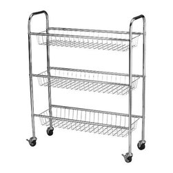 Household Essentials - Storage Cart 3-Tier, Chrome - Our 3-Tier Storage Cart in chrome color is compact and fits easily into any space. With sleek design and sturdy steel frame, the cart can stores just about anything. Organize all your laundry bottles and boxes on this open wire basket and prevent liquid damage to appliances. Keeps your bottles free of crust, grime and withstands even the heaviest of detergent boxes and bottles.