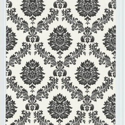 Graham and Brown - Costello Wallpaper Swatch - Black/White - Costello is an in-register small scale damask wallpaper with a jacquard stitch effect into the Harvey plain background.