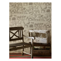 Kathy Kuo Home - Vintage Hand Painted Jungle Animals Wallpaper- Parchment - A vintage hand drawn wallpaper featuring animals from the jungle.