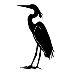 """2 1/2 Foot Tall Steel Yard Stake Heron - Approximate size 19"""" x 32"""" (excludes attached rod[s])"""