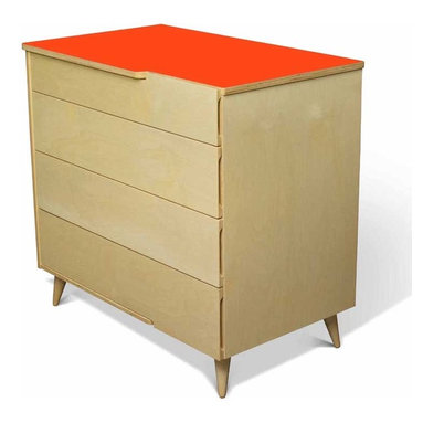 11-Ply Dresser By True Modern - Our 11 Ply Changing Table Dresser grows with your child. Just remove the changing table tray for a more grown up look. With its turned Danish style legs and exposed plywood edges,the 11 Ply Changing Table Dresser has plenty of storage. There are cutout handles on the top and side of the top drawer and on the sides of the other drawers. The laminate tops are available in crisp white,postal blue,atomic orange and dark gray. Made of sustainable birch plywood. Tray packaged separately.