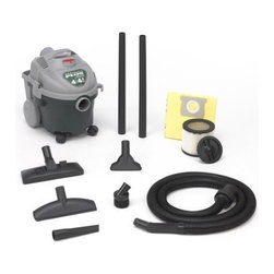 "Shop Vac - Shop-Vac 5870400 4-Gallon 4.5-Peak Horsepower All Around Wet/Dry Vacuum - Lightweight, compact, space-saver design adaptable to interior/exterior chores for carpets, boats, vehicles, campers/RVS, upholstery, stairs, kitchen or shop. Quiet 9-amp motor. Auto suction shut-off prevents overflow. Plastic tank resists rust and dents.   Easy-to-use disposable collection bags. Easy reach on/off switch, convenient top carrying handle and 2 large rear wheels for easy glide movement. 18' cord length. Includes a cartridge filter and disposable filter bag. 8' x 1-1/4"" lock-on hose, (2) 1-1/4""   extension wands, dual service selector nozzle. 10"" comb nozzle with squeegee insert, gulper nozzle, crevice tool, and round brush.      This item cannot be shipped to APO/FPO addresses.  Please accept our apologies"