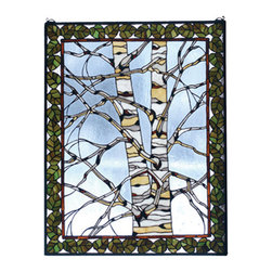 """Meyda Tiffany - 28""""W X 36""""H Birch Tree In Winter Stained Glass Window - A bare branched Tan and White Birch tree is framed with Bronzed Green leaves bordered in Bark Brown against an icy Clear glass sky. This Meyda Tiffany Original window will bring the charm of the North Woods into your home. The window is framed in solid brass and has brass mounting bracket and chains included."""