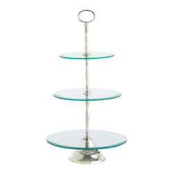 Kathy Kuo Home - Sabrina Classic 3 Tier Silver Polished Glass Dessert Pastry Stand - We wish we were perfect hostesses, but with a little help from items like this we can do a really good job of pretending that we are!  Polished nickel and beveled glass come together to create the most lovely presentation of deserts imaginable.