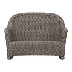 Summerlin Rocking Loveseat - Front porch charm in handwoven all-weather resin with the natural look of wicker. Rocking loveseat for two is finished a tonal kubu grey that captures the true patina of wicker. Summerlin dining collection also available.