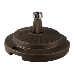 """Patio Living Concepts - Bronze Commercial Quality Umbrella Stand - The PLC commercial quality umbrella stands are individually boxed, unweighted, and available in five colors. Fully weighted with sand, these stands offer up to 95 lbs. of heavy holding force for any size umbrella. Chrome finished cap will accommodate umbrella poles from 1 """" diameter to 2"""" diameter. Each stand features a locking screw-on cap to hold the sand weight inside its durable molded resin body. This feature enables dealers or consumers to purchase sand for weighting at their local home stores and easily fill the stand with sand themselves to reduce shipping costs. Completely rust proof construction, will not leave rust marks on your patio or deck. (Sand not included) 22"""" dia X 12"""" ht."""