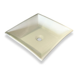 JWH Imports - White Trapezoid Ceramic Vessel Sink - No Overflow Valve - This sink gets an A+ for geometry. Its pleasing shape will give your bath a contemporary touch. And, it's made of ceramic, so it's easy to clean, too.